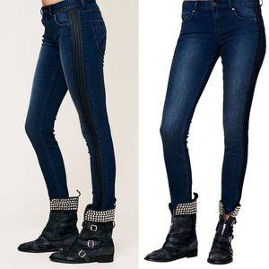 Free People Vegan Leather Trim Skinny Jeans Blue